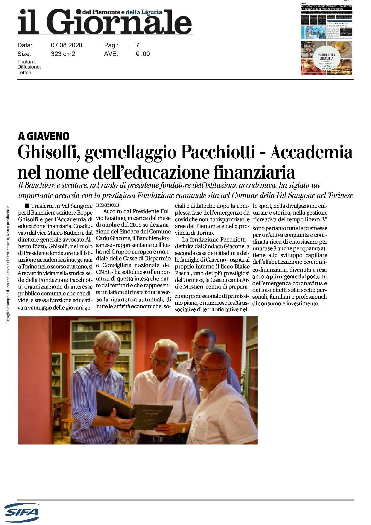 Ghisolfi, gemellaggio Pacchiotti - Accademia nel nome dell'educazione finanziaria